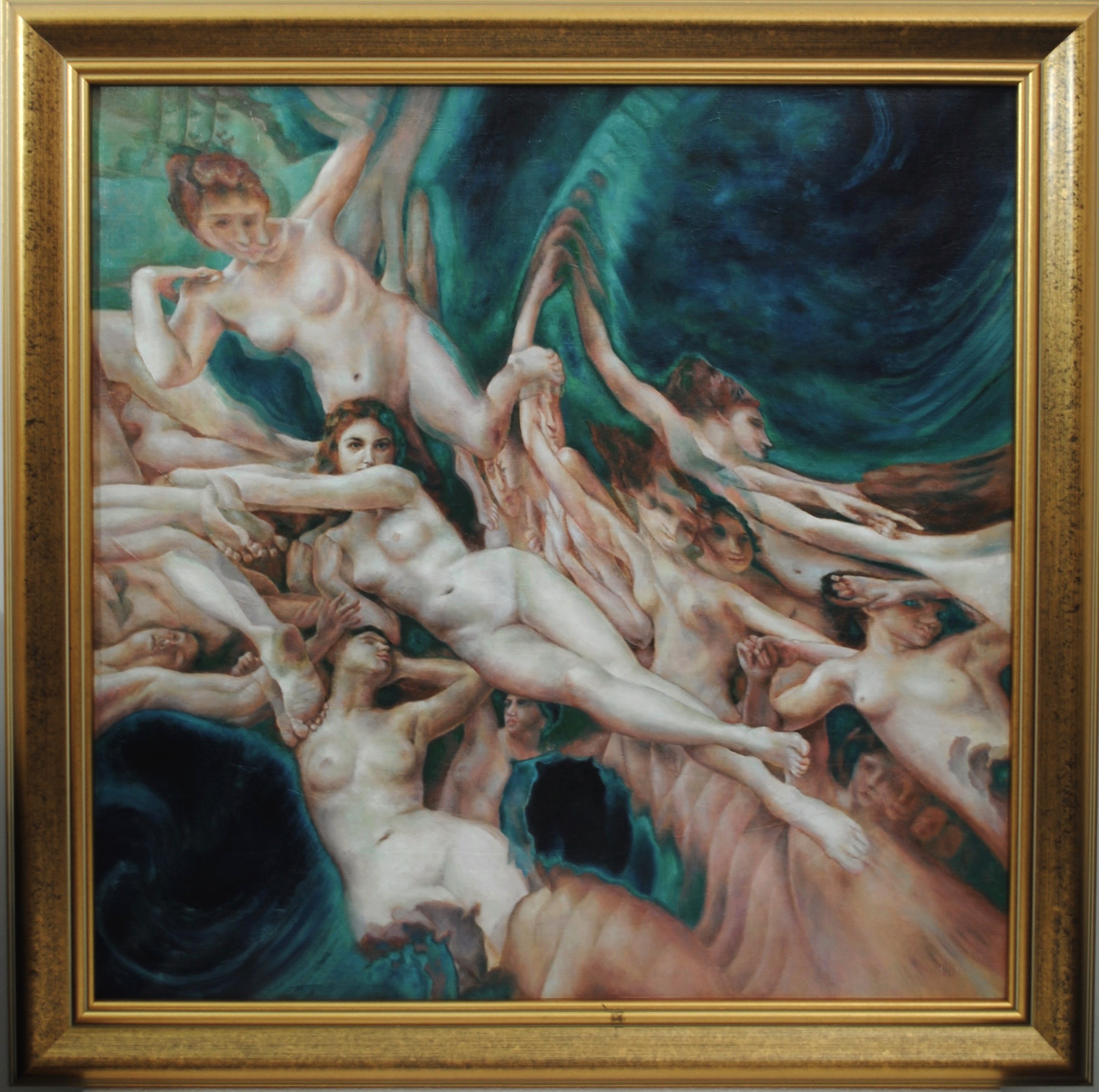 Wave (after Bouguereau), 2018, oil on linen 80 x 80 cm.